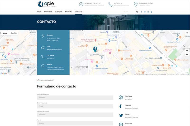 Contactar con APIE Podología avanzada
