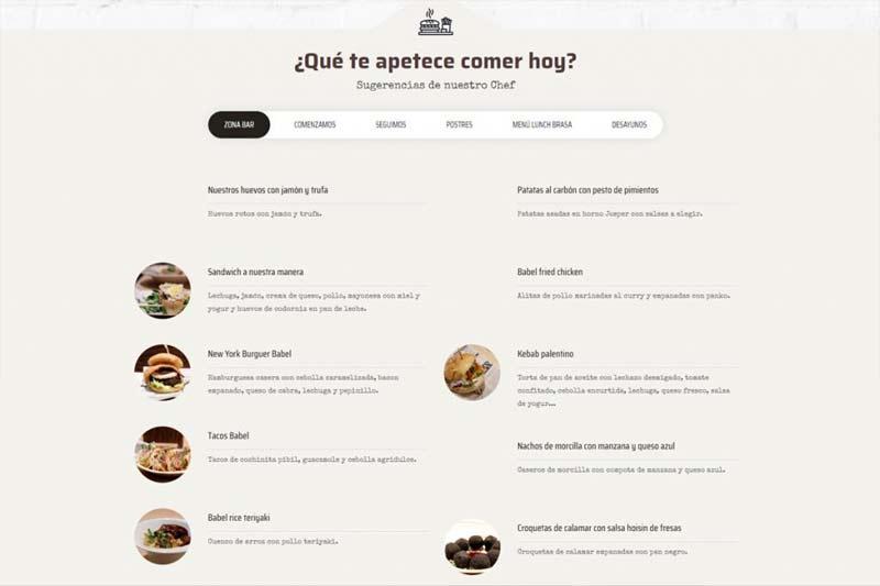 Carta del restaurante en Palencia BABEL