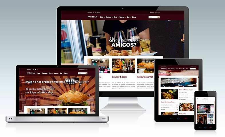 Diseño de páginas web. Página del restaurante Moesia en Palencia