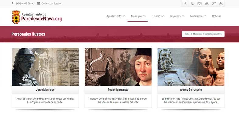 Diseño de páginas web. Página oficial del Ayuntamiento de Paredes de Nava